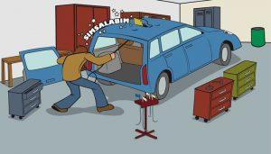 Hagelschadenreparatur auf einem Dellenteam-Comic: Werkstattszene, die Hagelschadenreparatur bzw. Dellendrücken zeigt.